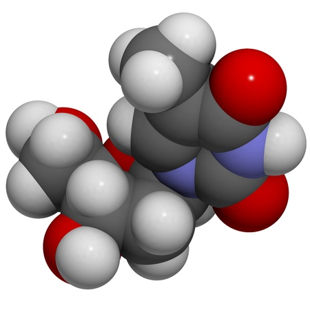 nucleoside: Chemical structure of a molecule of Thymidine (deoxythymidine, T, dT), one of the four building blocks of DNA. Stock Photo