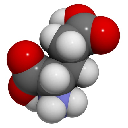 glutamate: Chemical structure of a molecule of L-Glutamic acid (Glu, E). The anion form of this amino acid, glutamate, is an important neurotransmitter that plays a role in long-term potentiation. This is essential for learning and memory. Its name is derived from g Stock Photo
