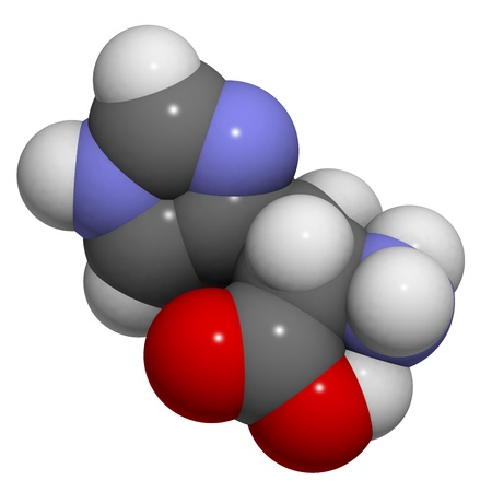 molekuul: Chemical structure of a molecule of L-Histidine (His, H). Histidine is an essential amino acid.