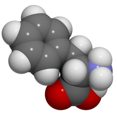 molekuul: Chemical structure of a molecule of L-Phenylalanine (Phe, F). This essential amino acid has an aromatic benzyl side chain. Inability to metabolize phenylalanine gives rise to the genetic disorder phenylketonuria. Stock Photo