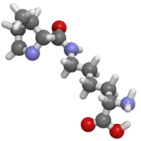 molekuul: Chemical structure of a molecule of L-Pyrrolysine (Pyl, O), a naturally occurring and genetically encoded amino acid found in some bacteria. It is considered the 22nd amino acid.
