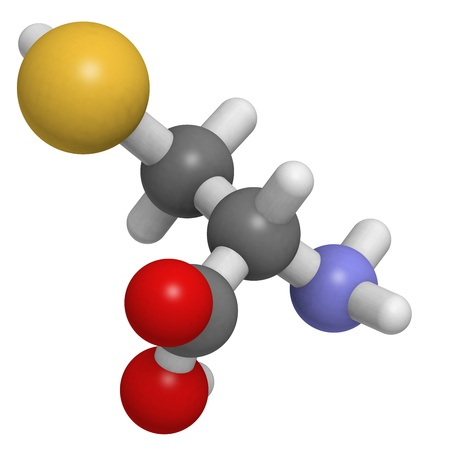 molekuul: Chemical structure of a molecule of L-Selenocysteine (Sec, U). This is a rare amino acid present in several enzymes. It resembles cysteine but contains an atom of selenium instead of sulfur.