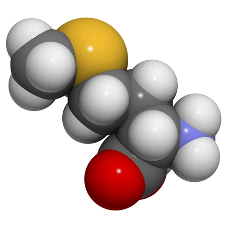 selenium: Chemical structure of a molecule of L-selenomethionine. This is a common and natural food source of the element selenium. Stock Photo