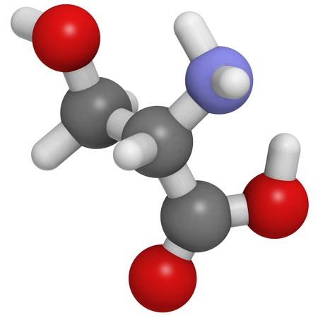 serine: Chemical structure of a molecule of L-serine (Ser, S). Serine is a non-essential amino acid. Stock Photo