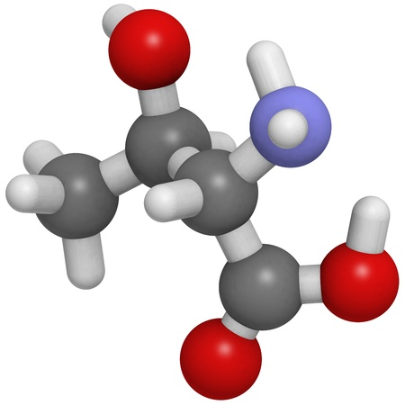 molekuul: Chemical structure of a molecule of L-Threonine (Thr, T). Threonine is an essential amino acid.