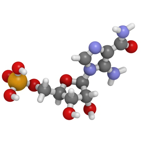 enhancing: Chemical structure of a molecule of AICAR (Acadesine, AICA ribonucleotide, ZMP), a performance enhancing drug used in sports doping.