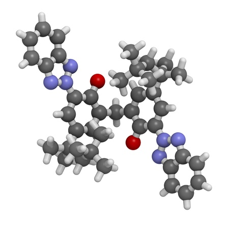molekuul: Chemical structure of a bisoctrizole molecule. Bisoctrizole is a molecule used in sunscreens to absorb UV rays.