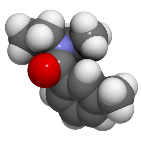 Chemical structure of DEET (N,N-Diethyl-meta-toluamide) insect repellent. photo