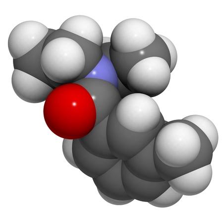 molekuul: Chemical structure of DEET (N,N-Diethyl-meta-toluamide) insect repellent.