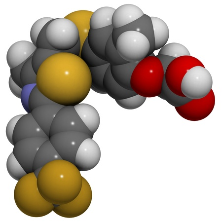 fat burning: Chemical structure of a GW-501516 (GSK-516, GW1516) molecule. This molecule may be used as a performance enhancing drug in sports doping. Stock Photo