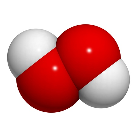 reactive: Chemical structure of a hydrogen peroxide (HOOH) molecule. HOOH is an example of a reactive oxygen species. Stock Photo