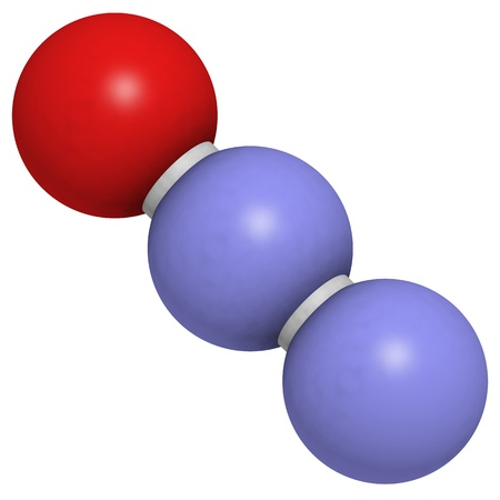 analgesic: Chemical structure of nitrous oxide (N2O, laughing gas, sweet air). This gas is used in medicine for its anesthetic and analgesic effects. N2O is also an important greenhouse gas.