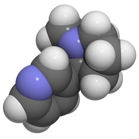Chemical structure of a molecule of nicotine. Nicotine is the main addictive component of tobacco. photo