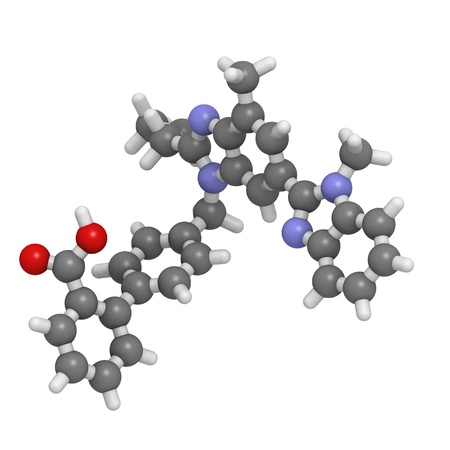molekuul: Chemical structure of a telmisartan molecule. Telmisartan is used to treat hypertension. It is also used as a preformance enhancing drug (sports doping). Stock Photo