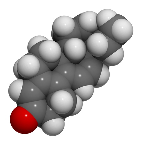 molekuul: Chemical structure of a tetrahydrogestrinone (THG, The Clear) molecule. THG is an anabolic steroid. This performance enhancing designer drug is used in sports doping. Stock Photo