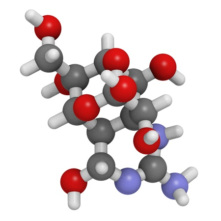 Chemical structure of a tetrodotoxin (TTX) molecule. TTX is a potent neurotoxin found in the pufferfish. Stock Photo - 14179532