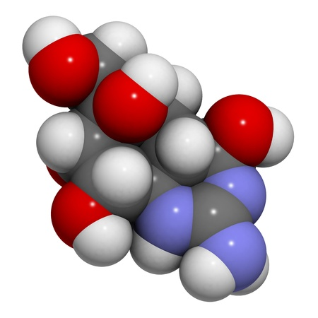 Chemical structure of a tetrodotoxin (TTX) molecule. TTX is a potent neurotoxin found in the pufferfish. Stock Photo - 14179541