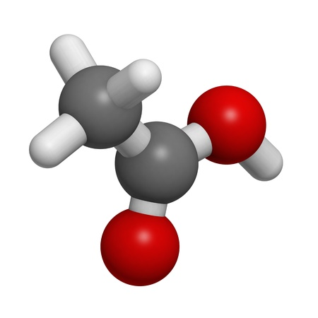 acetic: Chemical structure of a molecule of acetic acid.