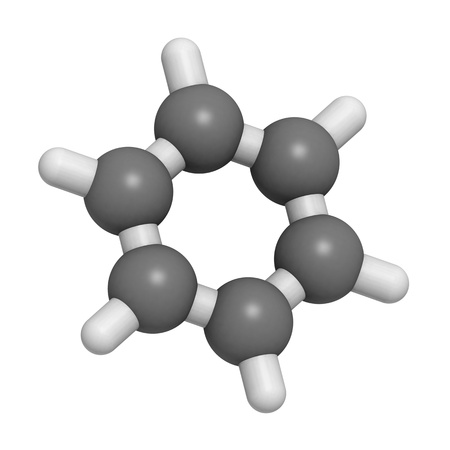 benzene: Chemical structure of a molecule of benzene