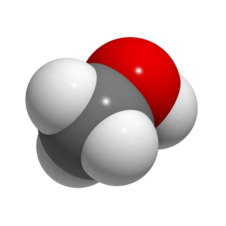 methyl: Chemical structure of a molecule of methanol.
