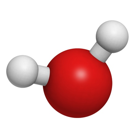 Chemical structure of a water molecule photo