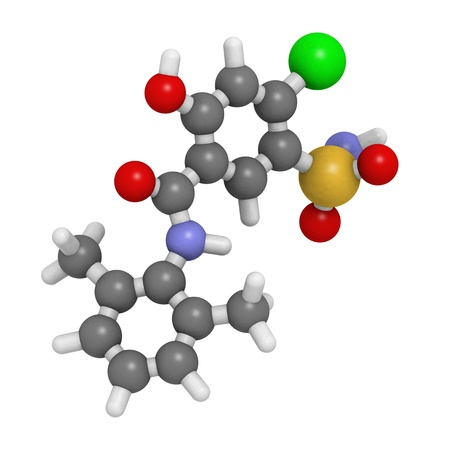 diuretic: Chemical Structure of a molecule of Xipamide, a diuretic drug used in the treatment of hypertension  Stock Photo