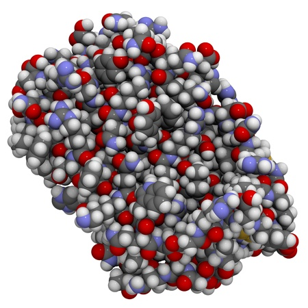 proteomics: Chemical structure of a molecule of human interferon-beta (IFN-b), a drug used to treat multiple sclerosis Stock Photo