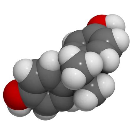molekuul: A molecule of bisphenol A, a chemical often present in polycarbonate plastics that has estrogen disrupting effects.