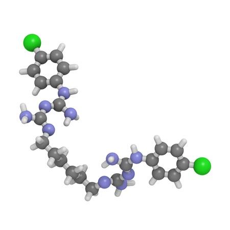 bactericidal: Estructura qu�mica de una mol�cula de clorhexidina, un compuesto de uso frecuente antis�ptico. Se utiliza en enjuagues bucales y matorral piel antis�ptico