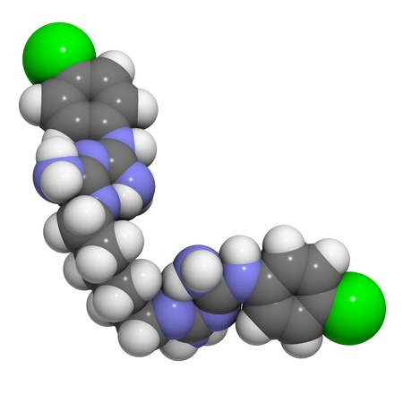 foam safe: Chemical structure of a molecule of chlorhexidine, an often used antiseptic compound. It is used in mouthwash and antiseptic skin scrub