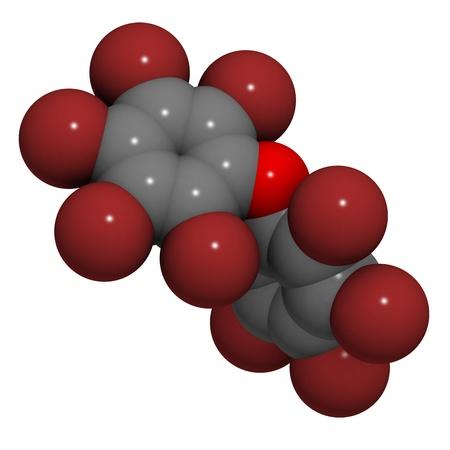 retardant: Struttura chimica di una molecola di decabromodifeniletere, un ritardante di fiamma bromurato.