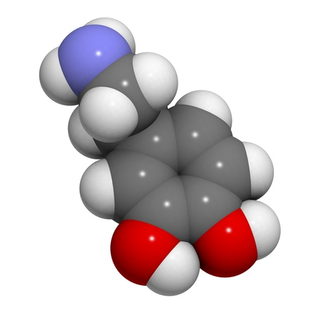 salience: Chemical structure of a molecule of dopamine, an important neurotransmitter. Stock Photo