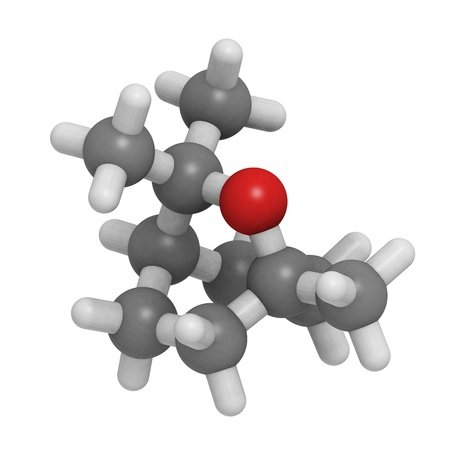 limonene: Chemical structure of a molecule of eucalyptol, the main component of Eucalyptus oil. Stock Photo