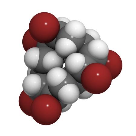 retardant: Struttura chimica di una molecola di esabromociclododecano, un ritardante di fiamma bromurato.