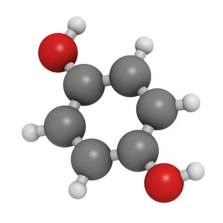carcinogen: Estructura qu�mica de una mol�cula de hidroquinona (quinol), un compuesto utilizado para la despigmentaci�n de la piel (rayos).