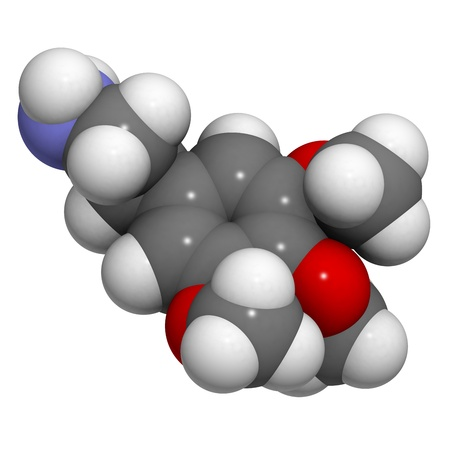 mescaline: Chemical structure of a molecule of mescaline, the psychedelic molecule found in peyote cactus.