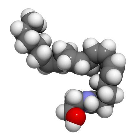 cannabinoid: Chemical structure of a molecule of anandamide (arachidonoylethanolamide). Stock Photo