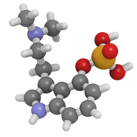 psilocybin: Chemical structure of a molecule of psylocybin, the psychedelic molecule found in many mushrooms Stock Photo