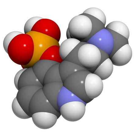 entheogen: Chemical structure of a molecule of psylocybin, the psychedelic molecule found in many mushrooms Stock Photo