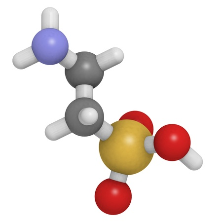 Chemical structure of a molecule of taurine, a common ingredient of energy drinks.