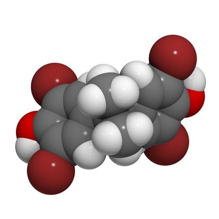 retardant: Struttura chimica di una molecola di tetrabromobisfenolo A, un ritardante di fiamma bromurato. Archivio Fotografico