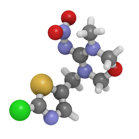compounds: Chemical structure of a molecule of the insecticide thiamethoxam, a member of the neonicotinoid class of compounds. Stock Photo