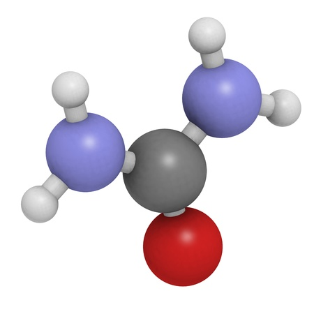 chemical fertilizer: Chemical structure of a molecule of urea (carbamide). Urea is used as a fertilizer and in many skin care products. Stock Photo