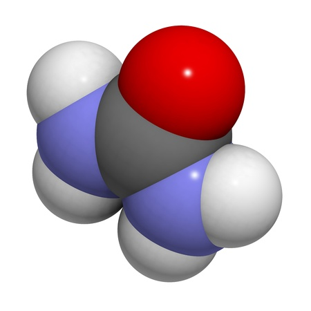 urea: Chemical structure of a molecule of urea (carbamide). Urea is used as a fertilizer and in many skin care products. Stock Photo