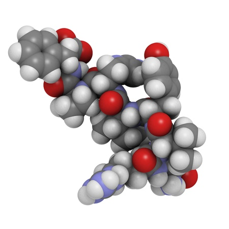 peptide: Chemical structure of a molecule of angiotensin II (AII) peptide, a peptide hormone that has a number of physiological effects and plays a role in blood pressure regulation.