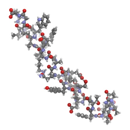 glucagon: Chemical structure of a Glucagon-like Peptide 1 (GLP-1) molecule. GLP-1 is being investigated for the treatment of diabetes mellitus. Stock Photo