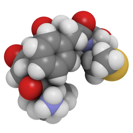 morphine: Chemical structure of a molecule of Met-enkephalin. Enkephalins are small peptides that play a role in pain sensation and that are natural, endogenous ligands of opioid receptors.