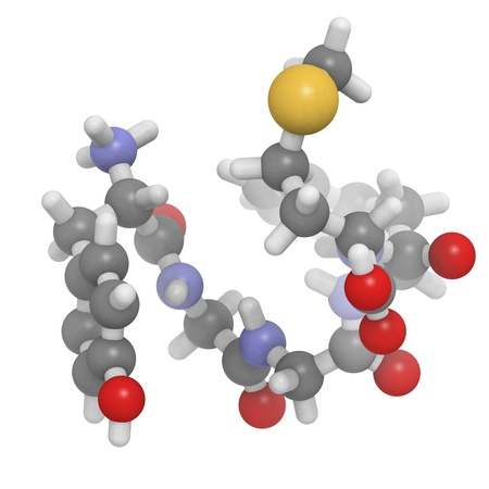 morphine: Chemical structure of a molecule of Met-enkephalin.  Stock Photo