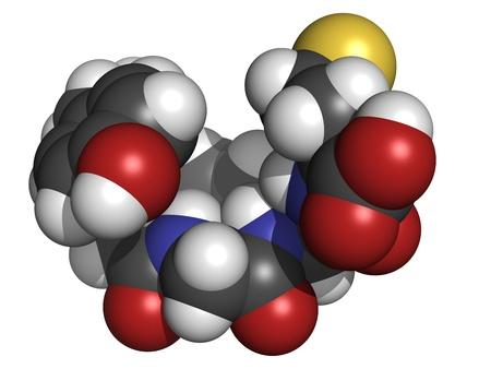 opioid: Chemical structure of a molecule of Met-enkephalin.  Stock Photo