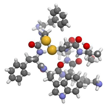 Chemical structure of a molecule of octreotide. Octreotide is a mimic of somatostatin. It inhibits the secretion of a number of hormones, including growth hormone, glucagon and insulin.